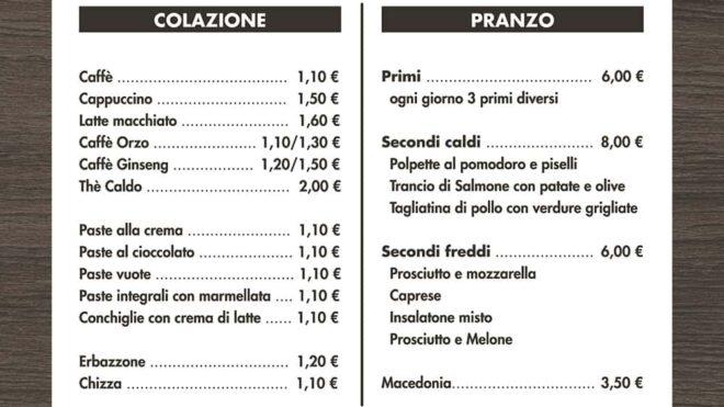 Impaginazione menu caffetteria